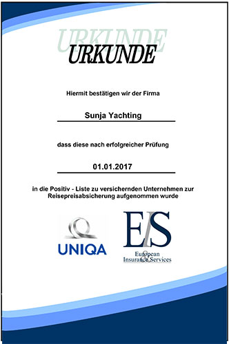 Uniqa Reisepreisabsicherung Sunja Yachting