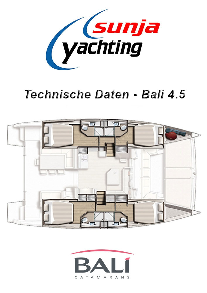 Technische Daten - Bali 4.5 Katamaran Yacht
