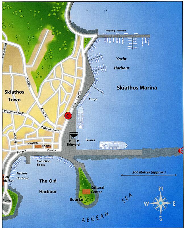 Skizze Marina Skiathos
